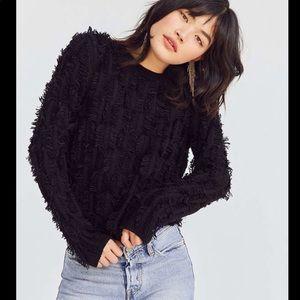 Kimchi Blue Black Fringe Boho Pullover Sweater L